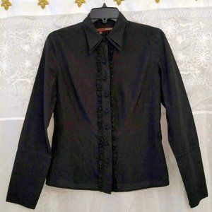 Cassis Black 100% Silk Blouse, Small